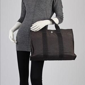 HERMES mm Black/Grey Canvas Herline  Tote Bag